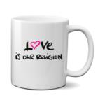 Печать на чашке Love religion, Печать на футболках, чашках, кепках. Индивидуальный дизайн