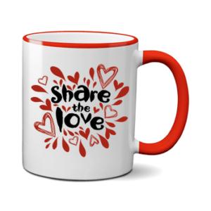 Печать на чашке Большая любовь, Печать на футболках, чашках, кепках. Индивидуальный дизайн