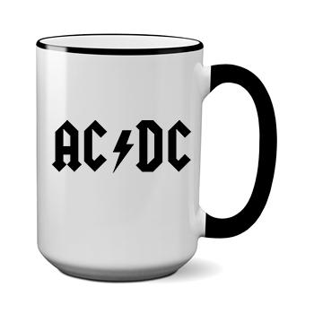 Печать на чашке AC DC, Печать на футболках, чашках, кепках. Индивидуальный дизайн