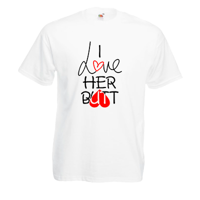 Печать на футболке Я люблю ее, Печать на футболках, чашках, кепках. Индивидуальный дизайн