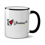Печать на чашке Люблю Украину, Печать на футболках, чашках, кепках. Индивидуальный дизайн