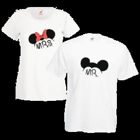 Печать на парных футболках Микки и Мини, Печать на футболках, чашках, кепках. Индивидуальный дизайн
