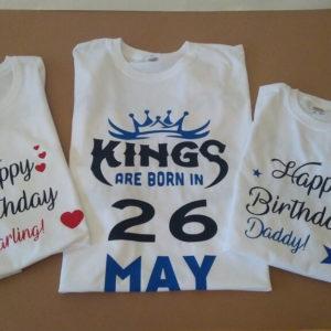 Печать на футболках на день рождения. Фэмили лук. Family Look для мамы и дочки