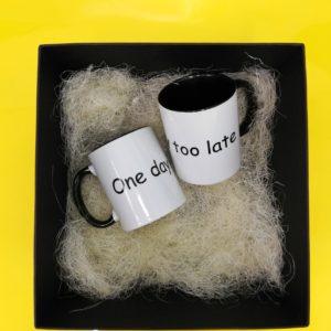 Отличный подарок на День рождения. One day too late. Заказать подарок. Печать сувенирных чашек. Заказать фото на чашке. Чашка на подарок.