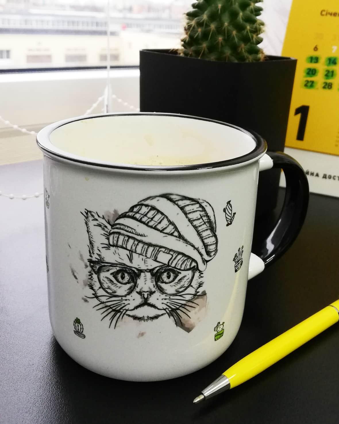 Печать на чашке. Кот в очках. Чашка и кот в шапке. Чашка с котом. Чашка с кактусами. Печать кота. Кіт на кружці.