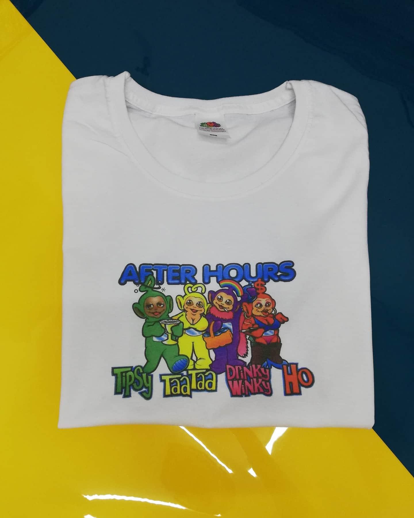 Взрослые Телепузики. Индивидуальная печать на футболке. Печать на футболках. Печать на футболках оптом. Печать Киев. Телепузики на футболке.