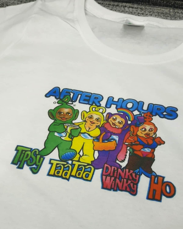 Индивидуальная печать на футболке. Печать на футболках. Печать на футболках оптом. Печать Киев. Телепузики на футболке.