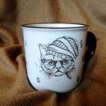 Кактусы. Печать на чашке. Кот в очках. Чашка и кот в шапке. Чашка с котом. Чашка с кактусами. Печать кота. Кіт на кружці.