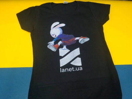 Быстра печать на футболках. Печать для Lanet.ua. Быстрый интернет. Печать логотипа на футболке. Срочная печать логотипа.